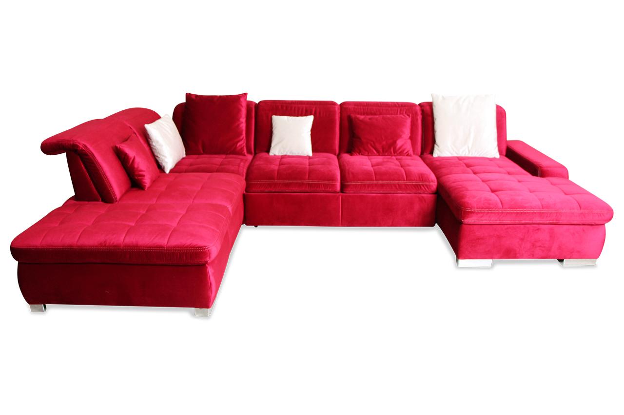 wohnlandschaft mit sitzverstellung und schlaffunktion rot sofas zum halben preis. Black Bedroom Furniture Sets. Home Design Ideas