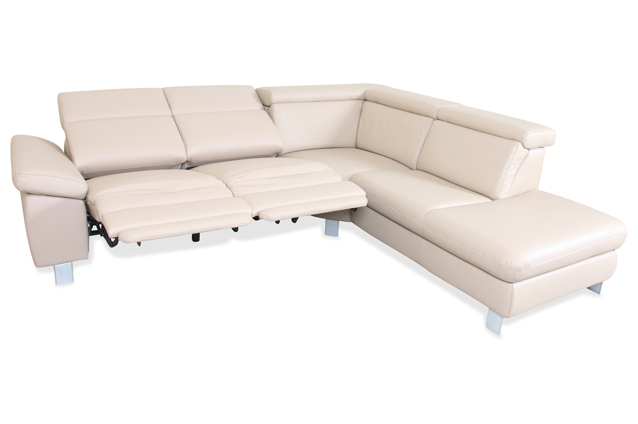 leder rundecke creme sofa couch ecksofa ebay. Black Bedroom Furniture Sets. Home Design Ideas