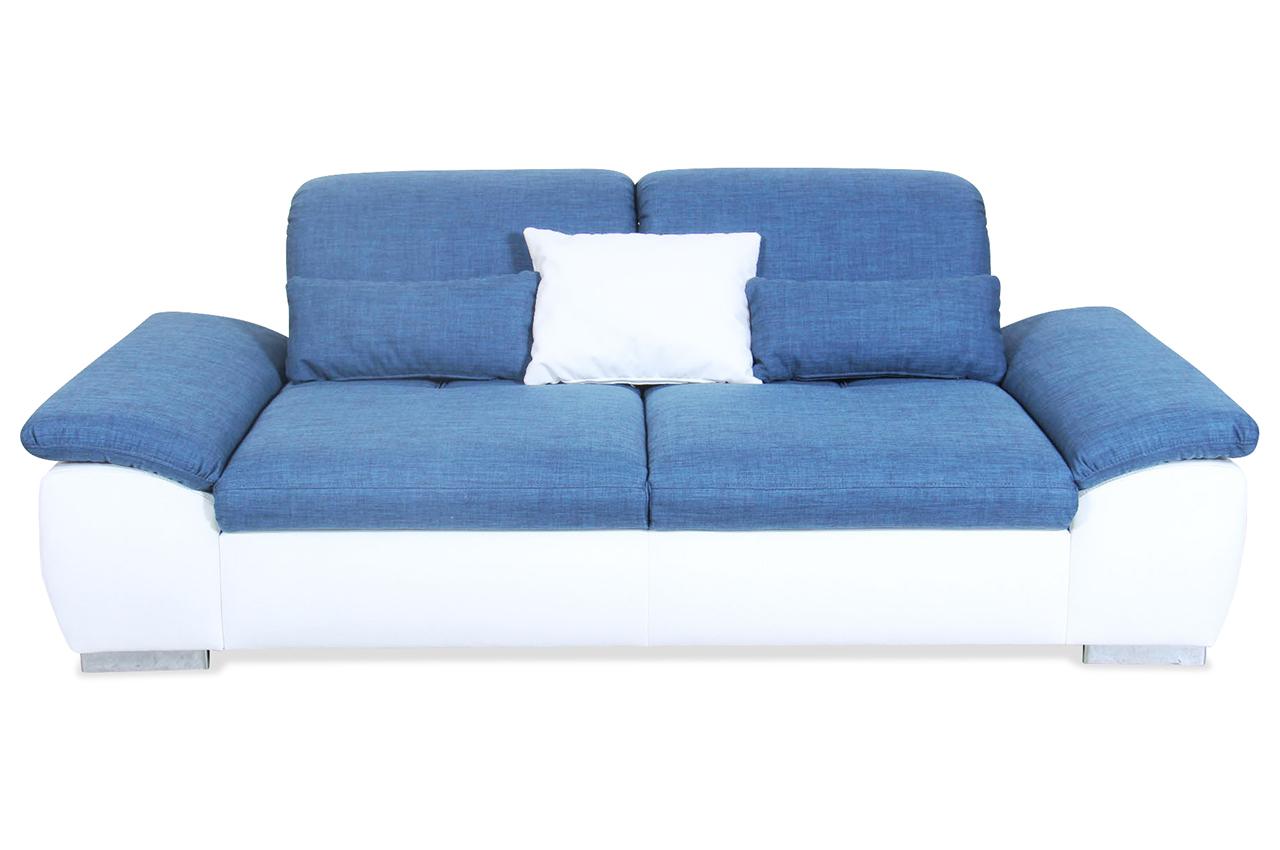3er sofa blau mit federkern sofa couch ecksofa ebay. Black Bedroom Furniture Sets. Home Design Ideas