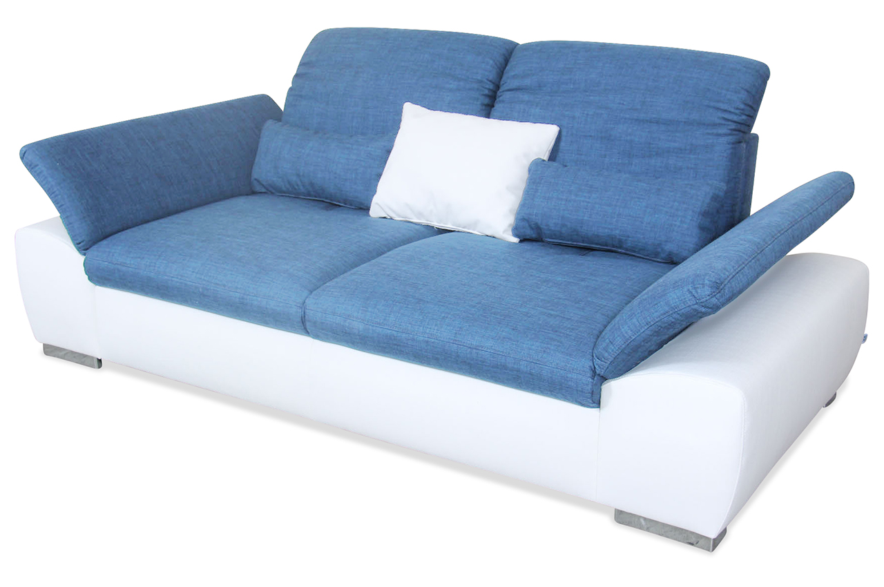 3er sofa blau mit federkern sofa couch ecksofa ebay. Black Bedroom Furniture Sets. Home Design Ideas