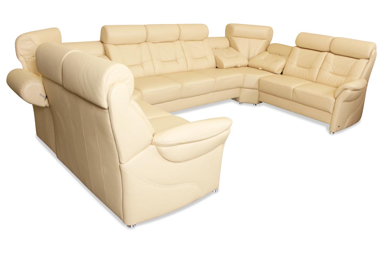 Leder wohnlandschaft mit relax creme sofas zum for Wohnlandschaft creme