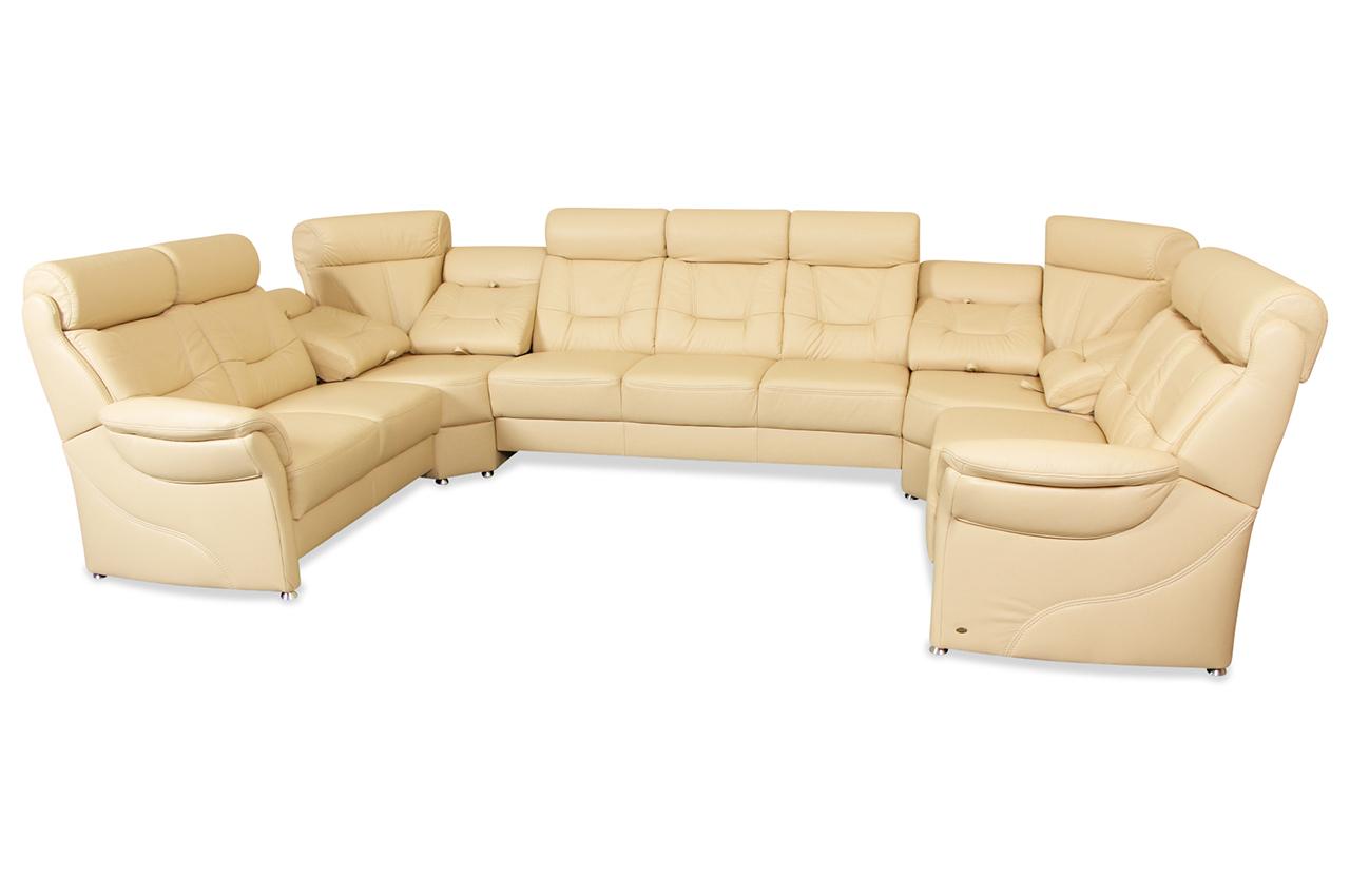 leder wohnlandschaft mit relax creme sofas zum halben preis. Black Bedroom Furniture Sets. Home Design Ideas