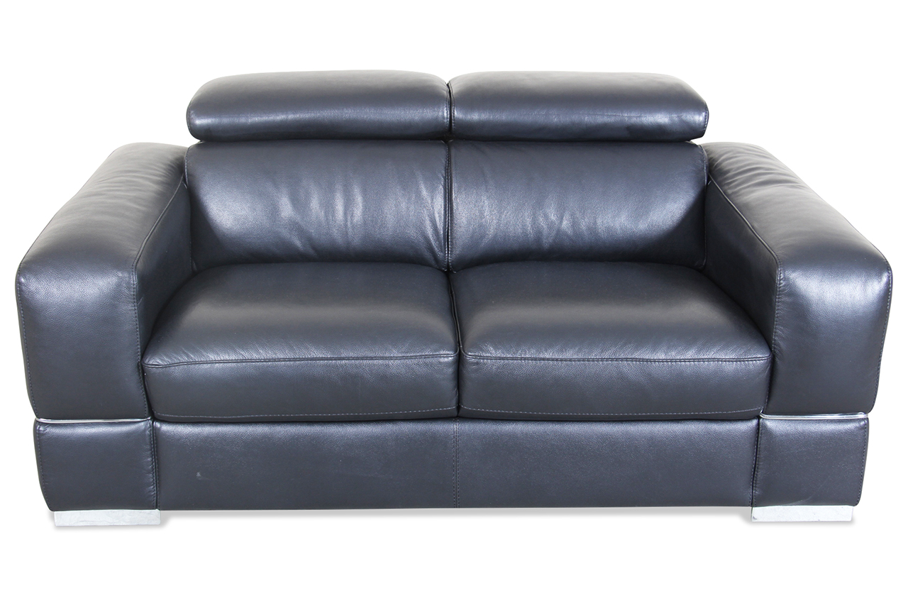 Htl International Leder 2er Sofa 9860 Schwarz Mit Federkern