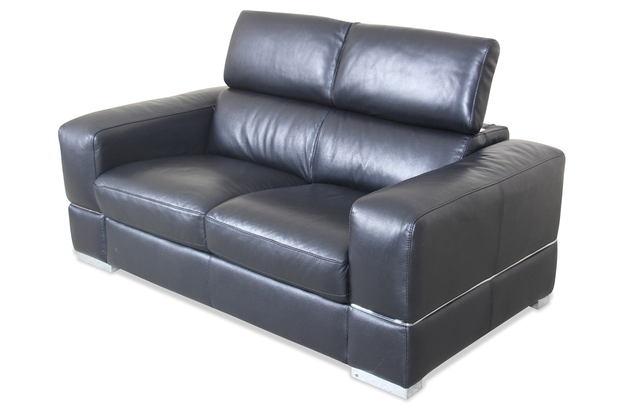 htl international leder 2er sofa 9860 schwarz mit federkern sofas zum halben preis. Black Bedroom Furniture Sets. Home Design Ideas