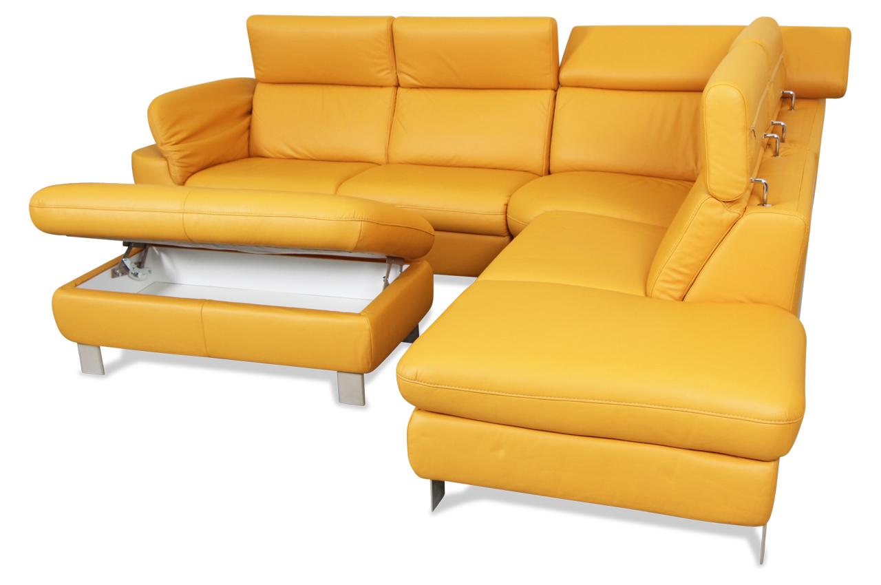 Leder Rundecke mit Hocker  Gelb  Sofa Couch Ecksofa # Ecksofa Leder Gelb