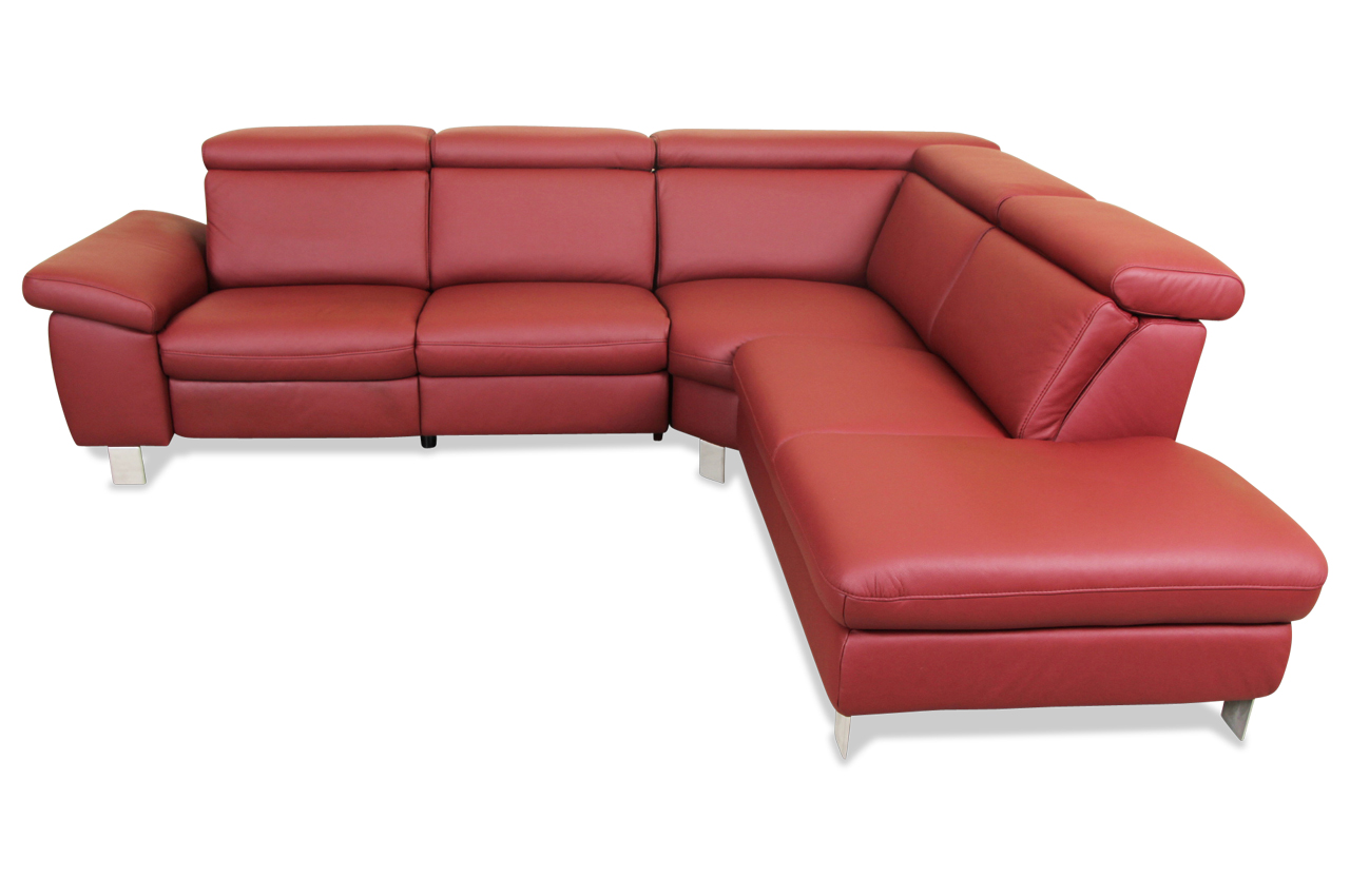 sale leder rundecke mit relax rot sofa couch ecksofa ebay. Black Bedroom Furniture Sets. Home Design Ideas