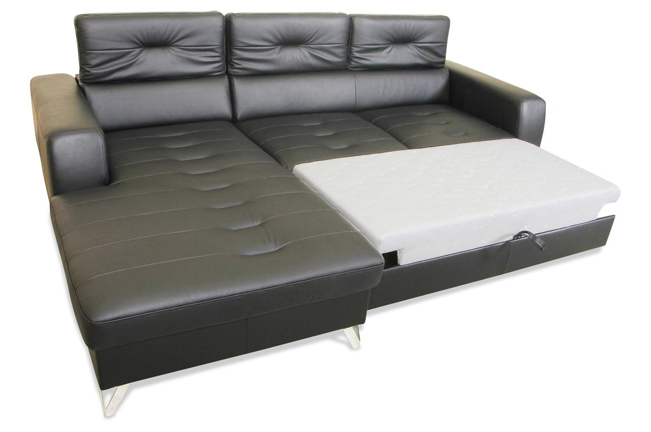 aek leder ecksofa rio mit schlaffunktion schwarz echt leder sofa couch ebay. Black Bedroom Furniture Sets. Home Design Ideas