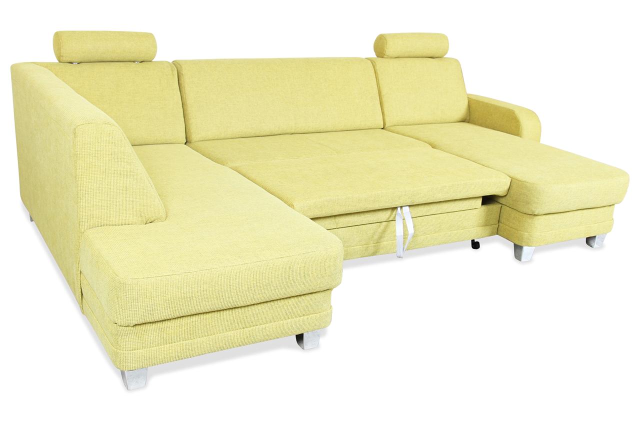 ada alina wohnlandschaft 7922 mit schlaffunktion gruen mit federkern sofa ebay. Black Bedroom Furniture Sets. Home Design Ideas