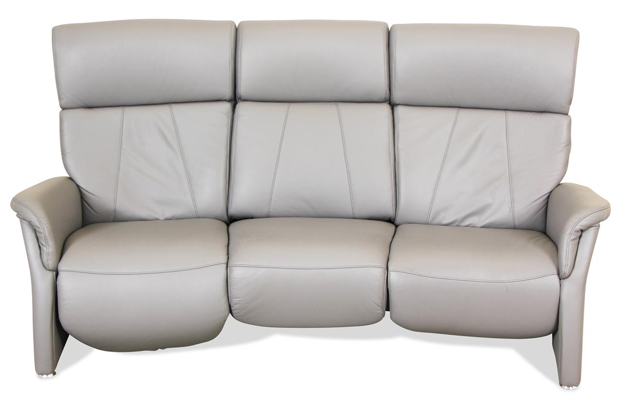 sale leder 3er sofa mit relax grau sofa couch ecksofa ebay. Black Bedroom Furniture Sets. Home Design Ideas