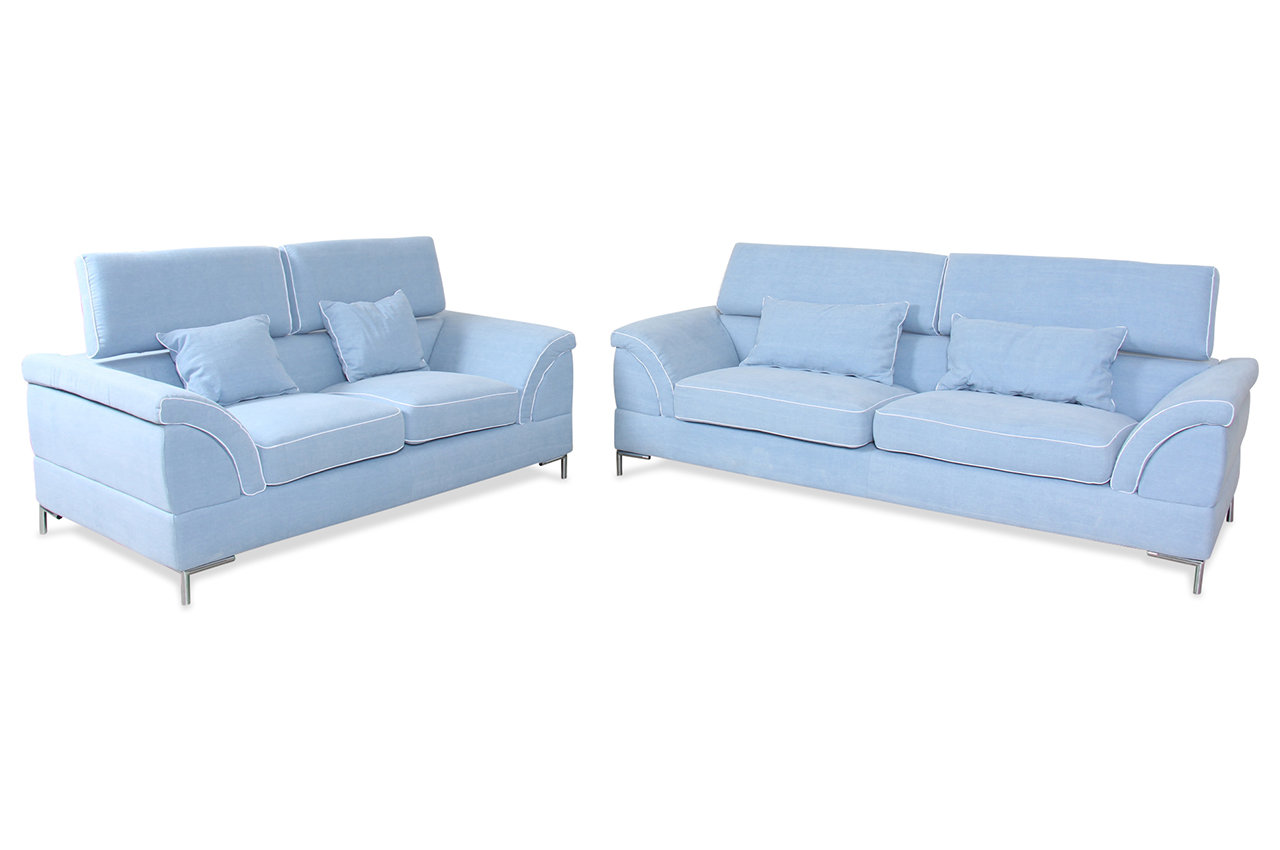 spin m bel garnitur 3 2 stafe blau mit federkern sofas zum halben preis. Black Bedroom Furniture Sets. Home Design Ideas
