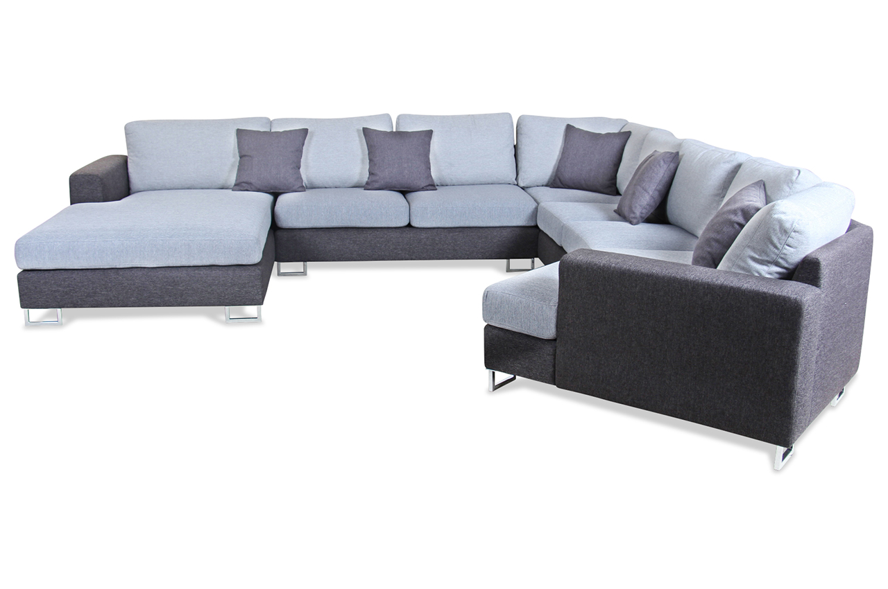 spin m bel wohnlandschaft panama grau mit federkern sofa couch ecksofa ebay. Black Bedroom Furniture Sets. Home Design Ideas