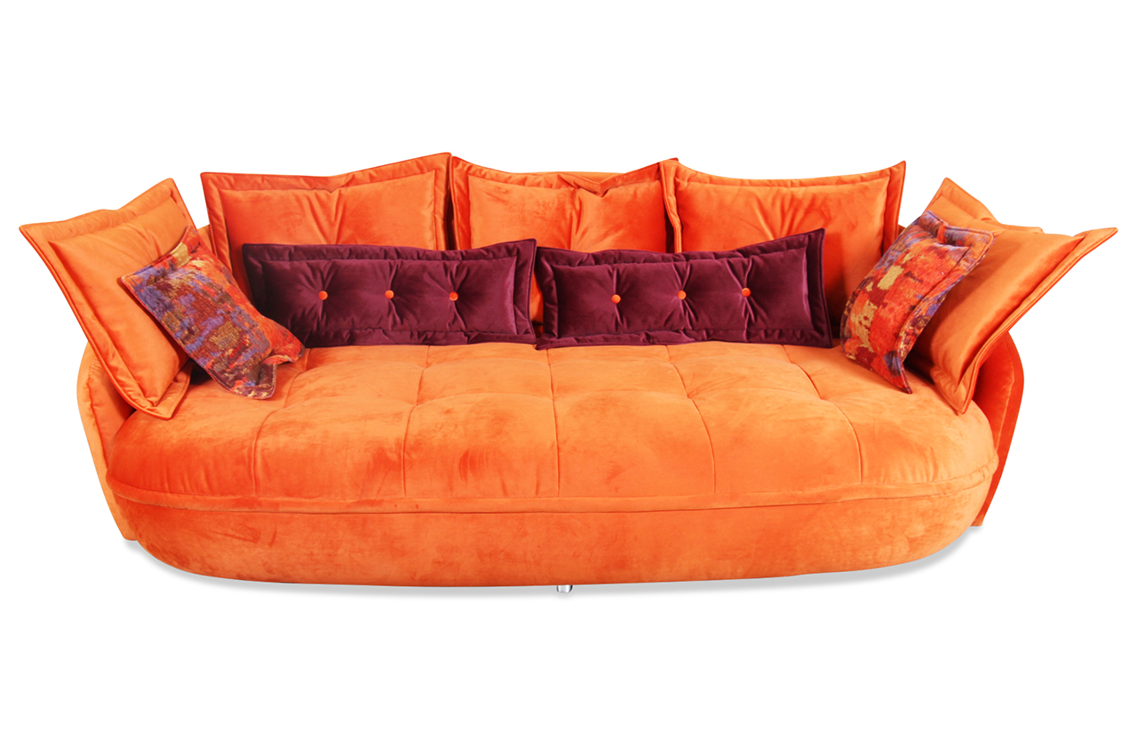 Castello 3er sofa pascha orange mit federkern sofa for Ecksofa 240 breit