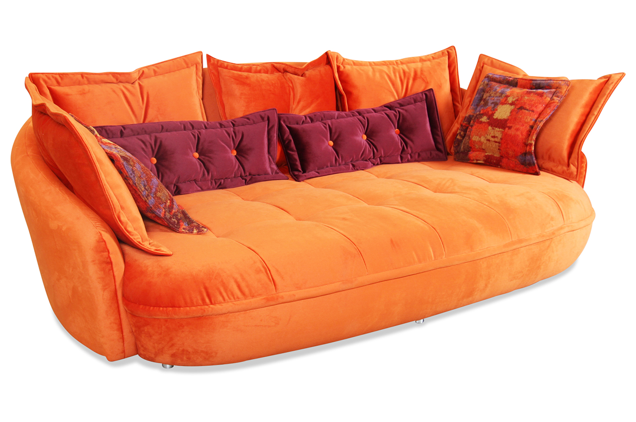 castello bigsofa pascha orange mit federkern sofa couch ecksofa ebay. Black Bedroom Furniture Sets. Home Design Ideas
