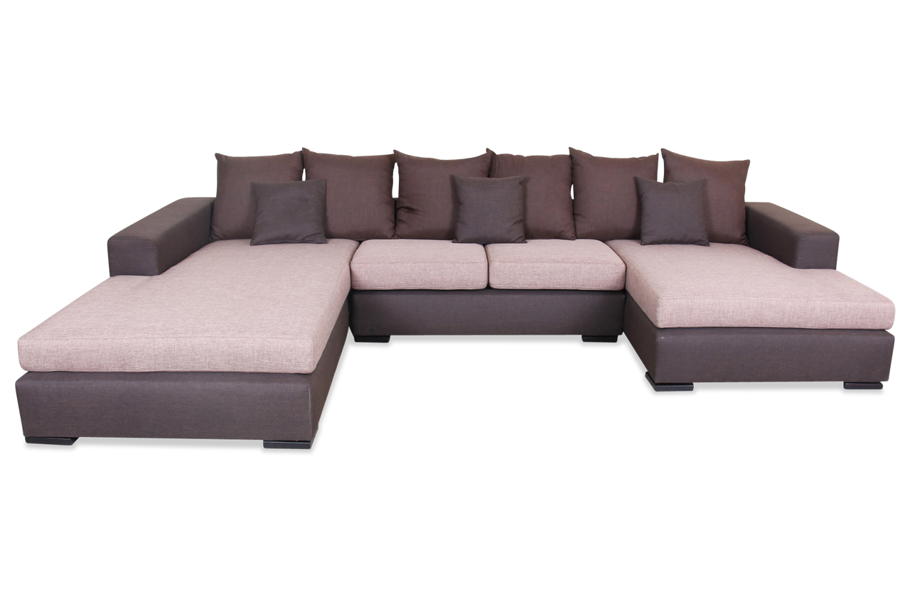 spin m bel wohnlandschaft napoli braun mit federkern sofa couch ecksofa ebay. Black Bedroom Furniture Sets. Home Design Ideas