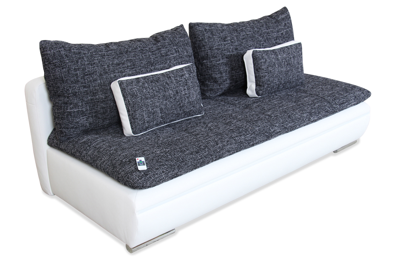castello 3er sofa yokohama mit led und schlaffunktion schwarz sofas zum halben preis. Black Bedroom Furniture Sets. Home Design Ideas