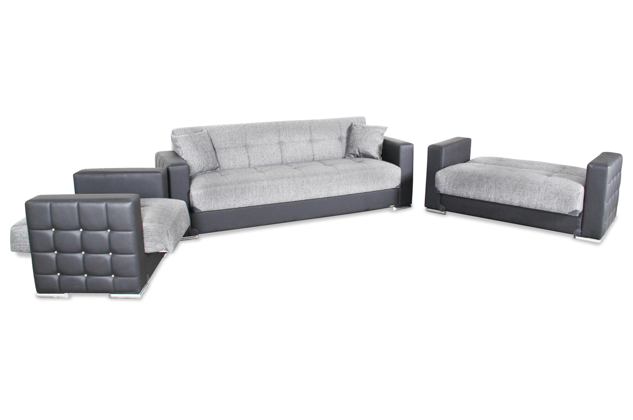 bader garnitur 3 2 1 borina mit relax und schlaffunktion schwarz sofa cou ebay. Black Bedroom Furniture Sets. Home Design Ideas