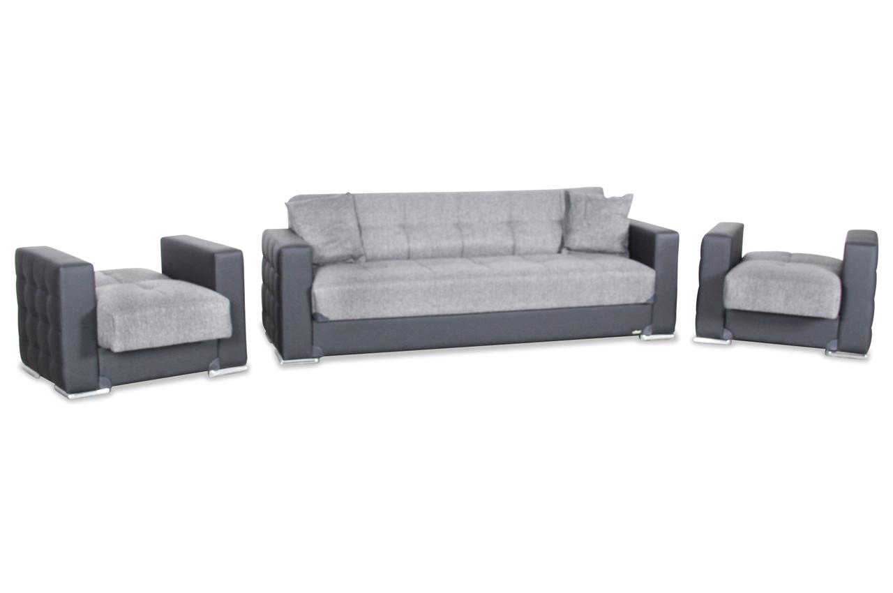 garnitur 3 1 1 borina mit relax und schlaffunktion schwarz sofas zum halben preis. Black Bedroom Furniture Sets. Home Design Ideas