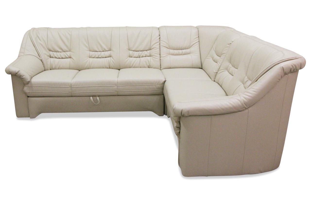 matex leder rundecke lagos mit schlaffunktion creme sofa couch ecksofa. Black Bedroom Furniture Sets. Home Design Ideas