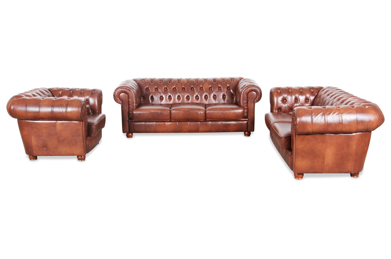 max winzer leder garnitur 3 2 1 chesterfield modern braun sofas zum halben preis. Black Bedroom Furniture Sets. Home Design Ideas