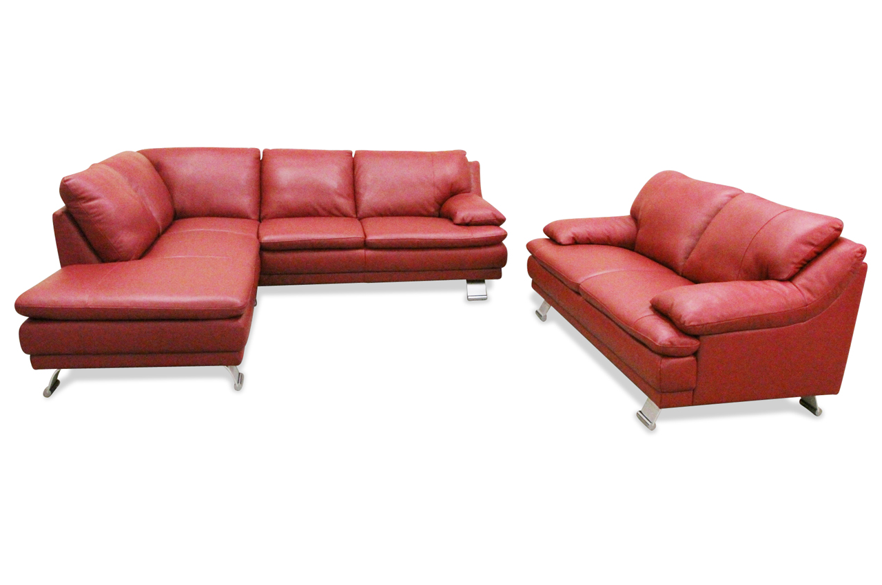 editions leder ecksofa xl u118 mit sessel rot sofas zum halben preis. Black Bedroom Furniture Sets. Home Design Ideas