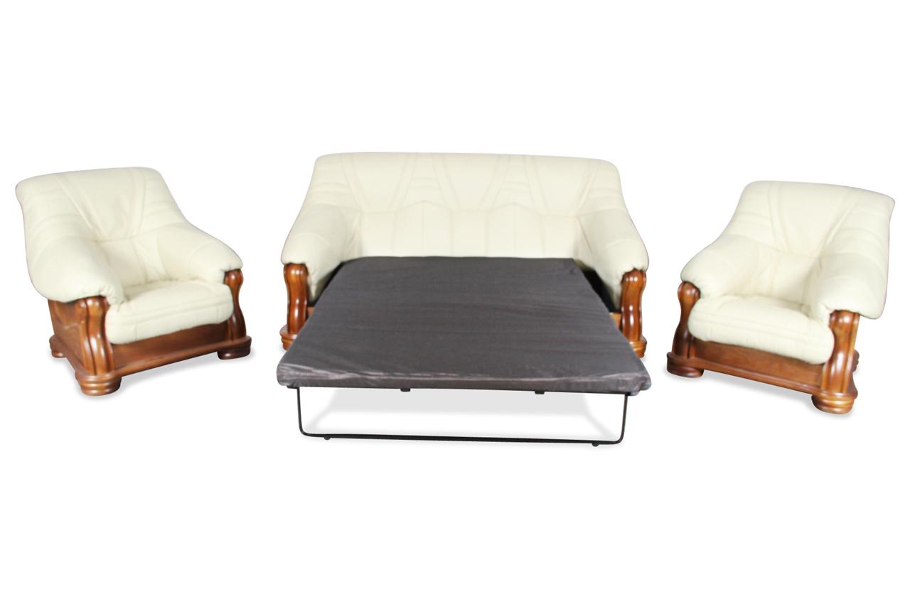 chojmex leder garnitur 3 1 1 bolero mit schlaffunktion creme sofas zum halben preis. Black Bedroom Furniture Sets. Home Design Ideas