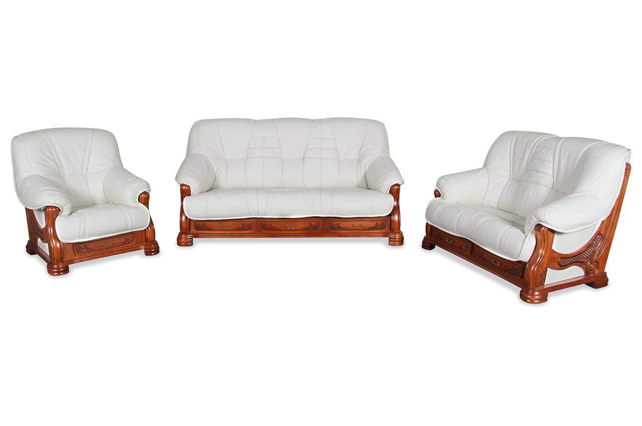 chojmex leder garnitur 3 2 1 senator mit schlaffunktion weiss sofa couch. Black Bedroom Furniture Sets. Home Design Ideas