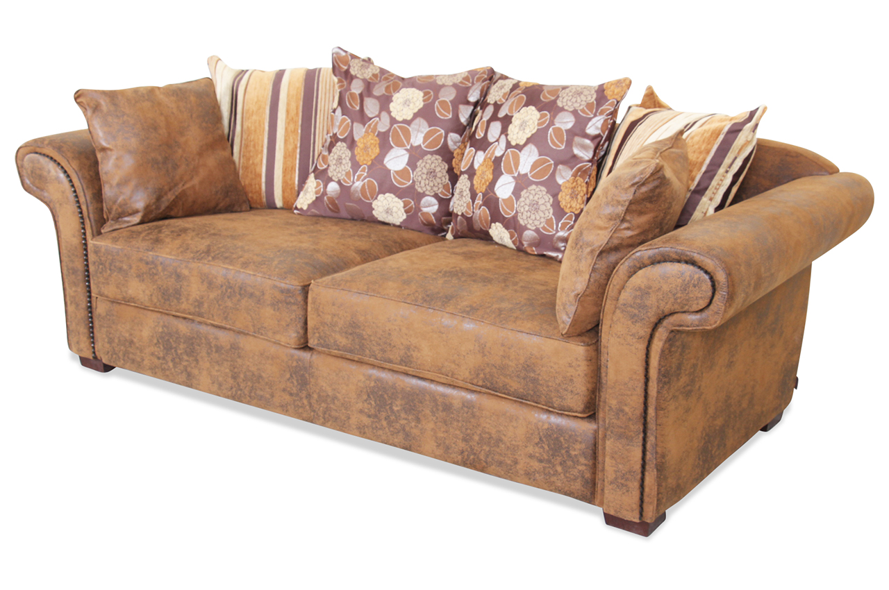 spin m bel 3er sofa dover braun sofa couch ecksofa ebay. Black Bedroom Furniture Sets. Home Design Ideas