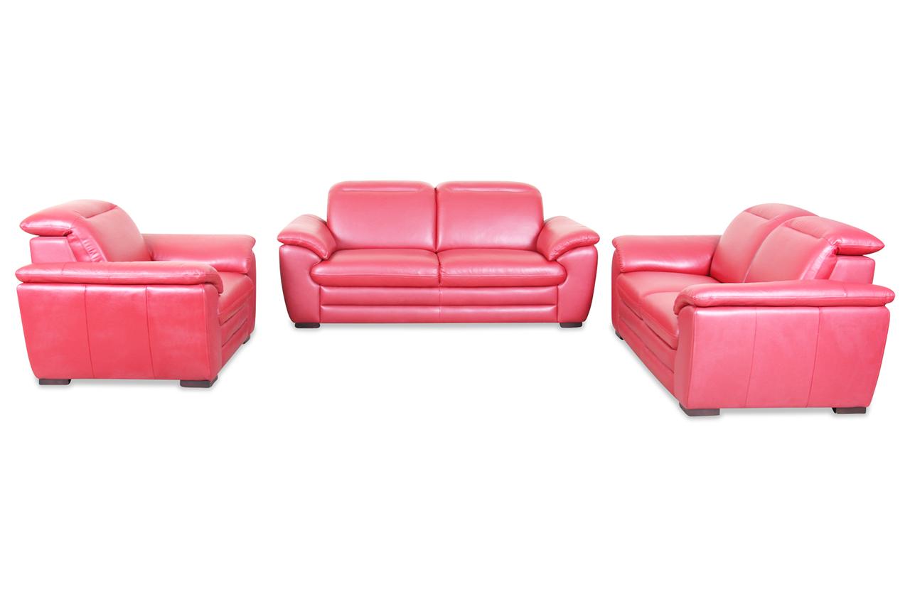 htl international leder garnitur 3 2 1 2213 rot sofas. Black Bedroom Furniture Sets. Home Design Ideas