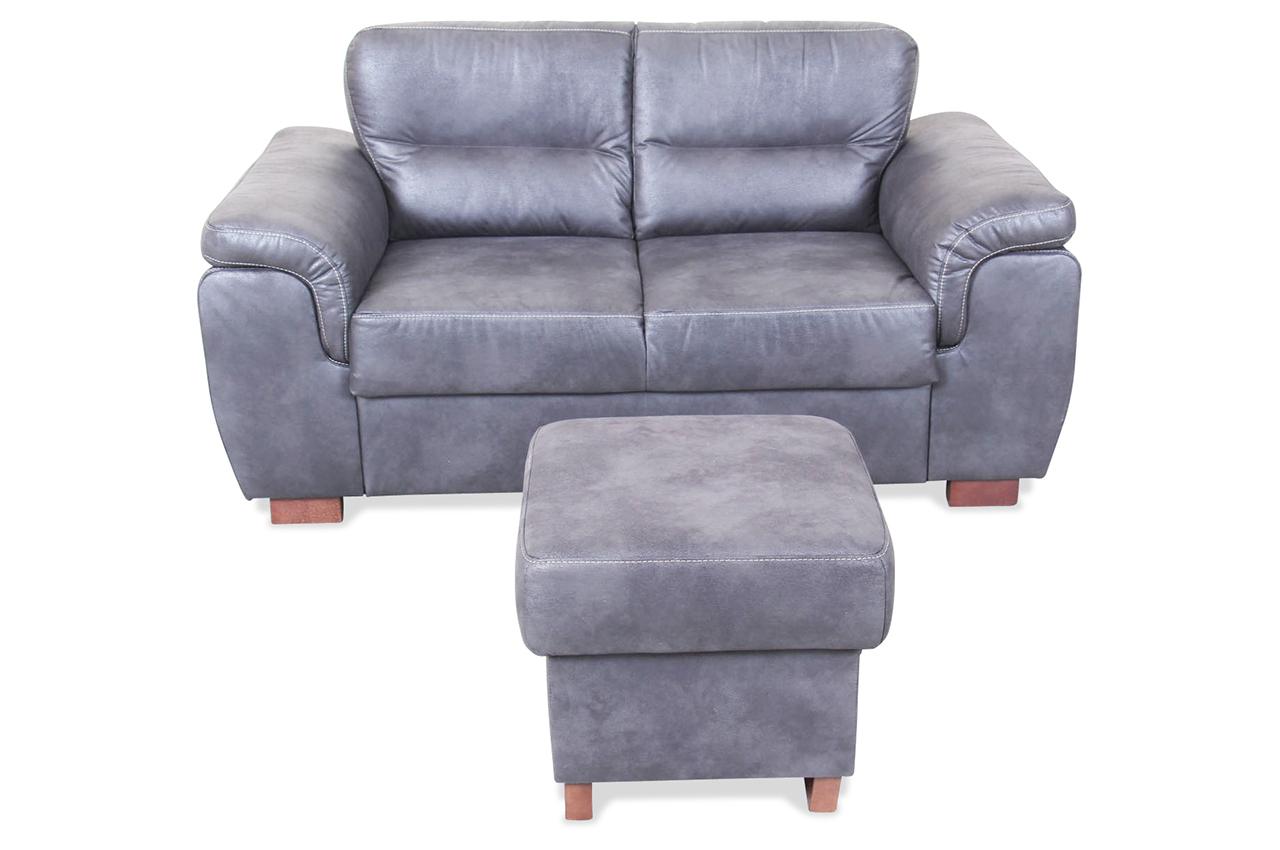 2er sofa blues mit hocker grau sofas zum halben preis for Sofa mit hocker