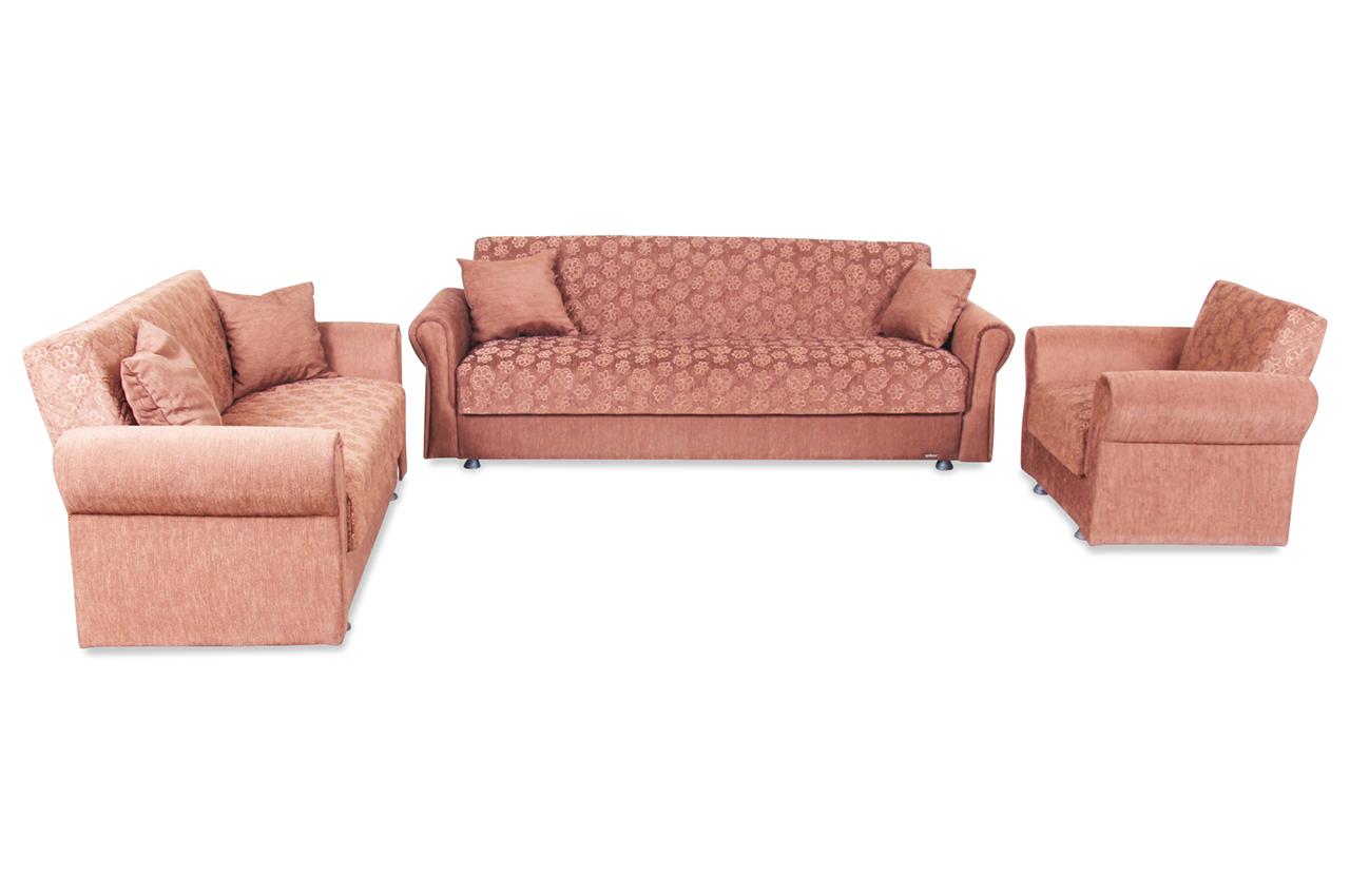 seher garnitur 3 2 1 mohammad mit schlaffunktion braun. Black Bedroom Furniture Sets. Home Design Ideas