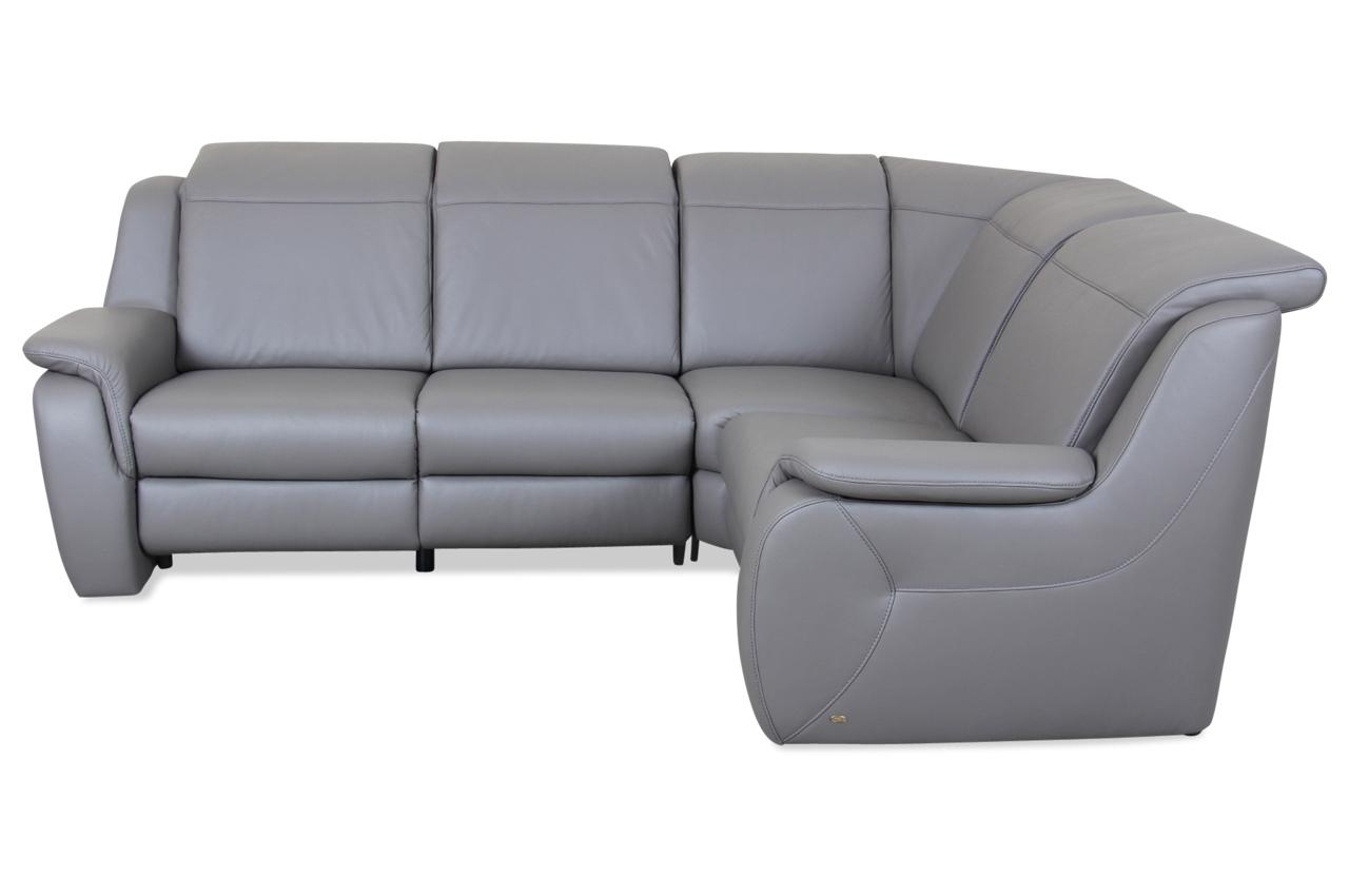 Leder rundecke mit relax grau mit federkern sofa for Ecksofa leder federkern