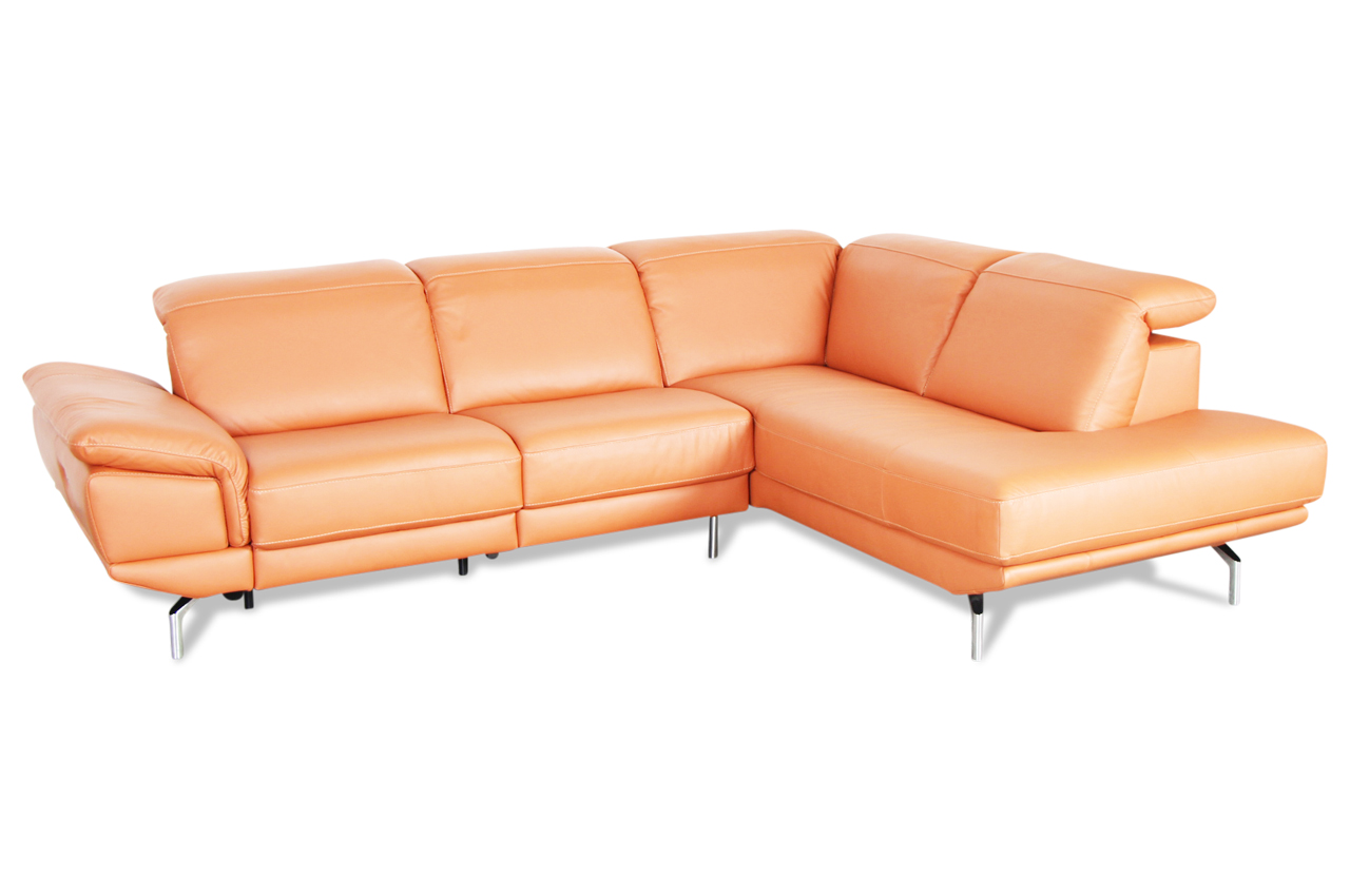editions leder ecksofa xl u263 orange mit federkern. Black Bedroom Furniture Sets. Home Design Ideas