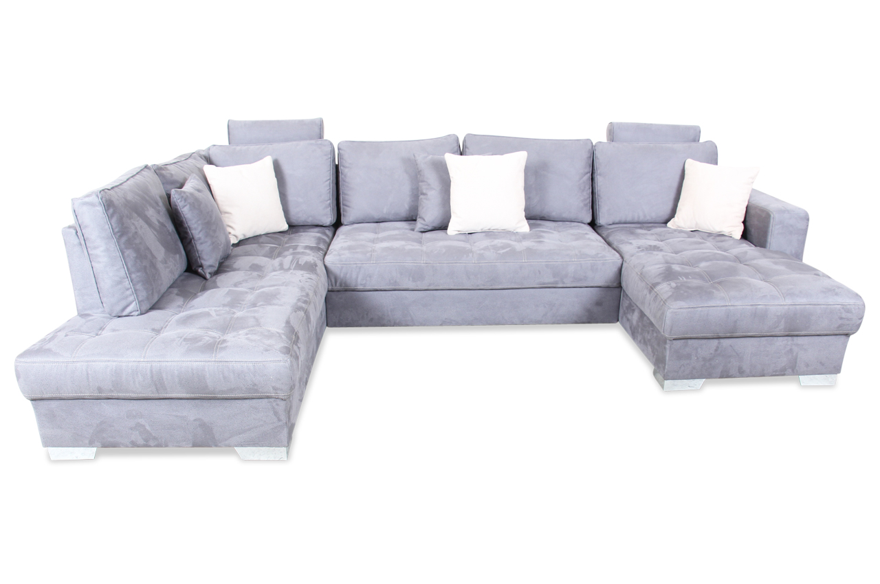 Wohnlandschaft arles mit relax grau sofas zum halben for Wohnlandschaft grau
