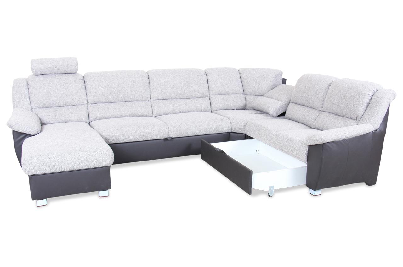 wohnlandschaft vario mit schlaffunktion grau sofas zum halben preis. Black Bedroom Furniture Sets. Home Design Ideas