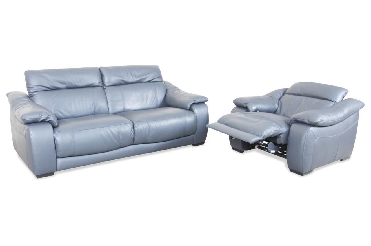 Editions Leder 2er Sofa U076 Mit Sessel Mit Relax Grau Mit Boxspring Sofas Zum Halben Preis