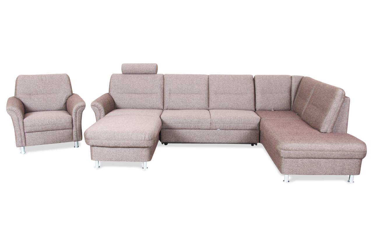 ada alina wohnlandschaft carl mit sessel mit schlaffunktion braun sofas zum halben preis. Black Bedroom Furniture Sets. Home Design Ideas