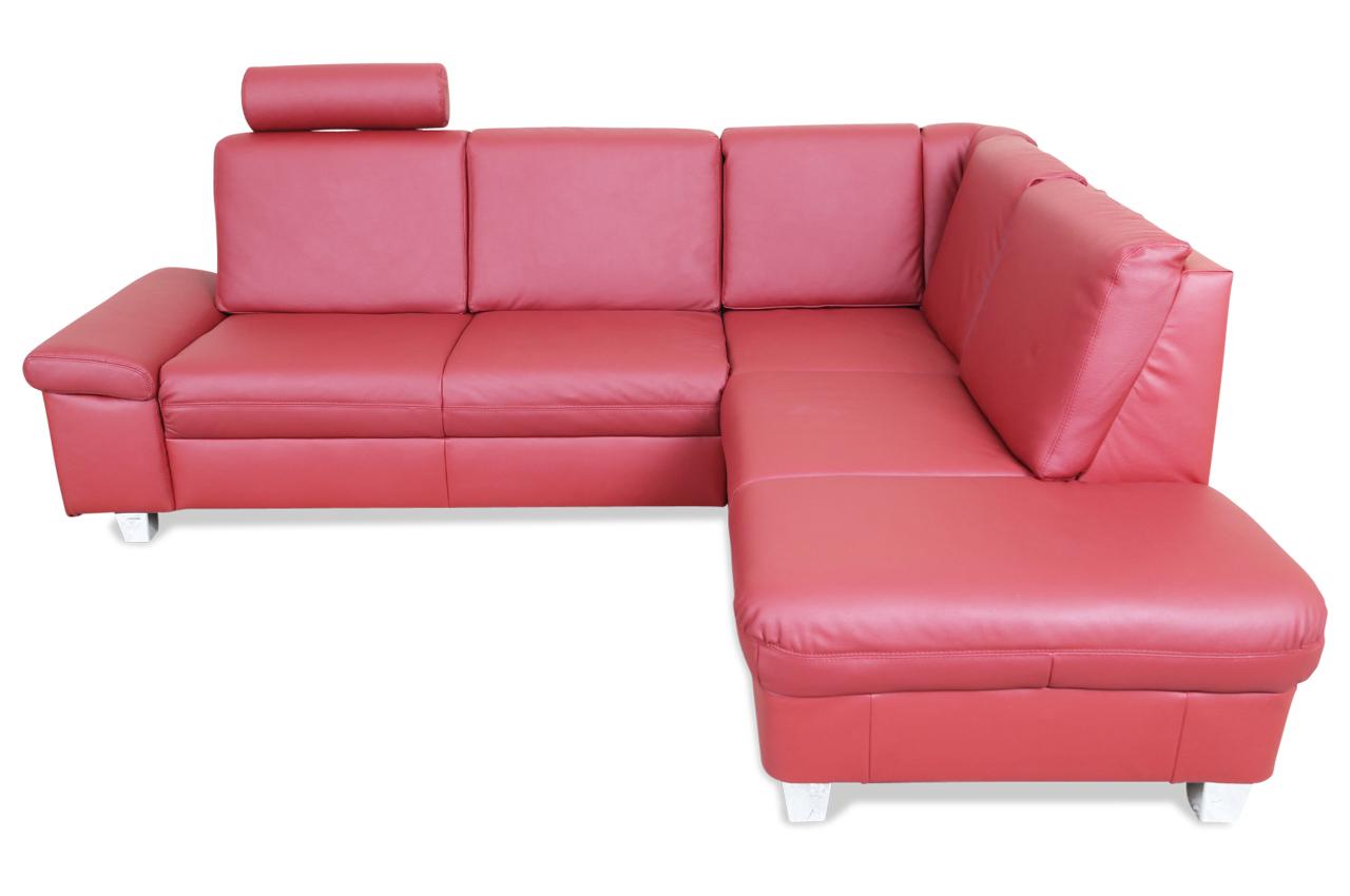 Ada alina leder ecksofa xl abina rot sofas zum halben for Ecksofa leder rot