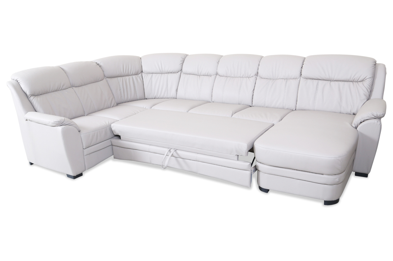 cotta leder wohnlandschaft bruno mit schlaffunktion grau sofas zum halben preis. Black Bedroom Furniture Sets. Home Design Ideas