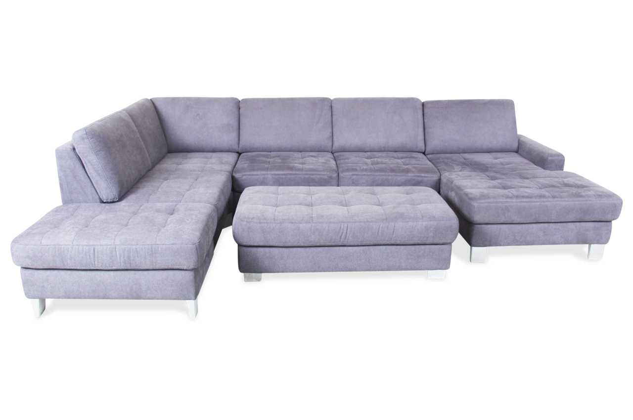 wohnlandschaft mit hocker grau sofas zum halben preis. Black Bedroom Furniture Sets. Home Design Ideas