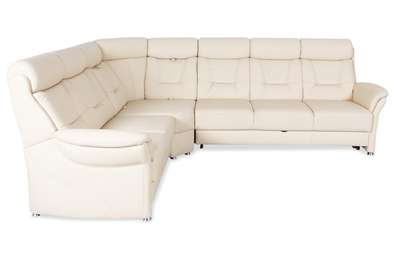 Leder Rundecke Mit Sitzverstellung Und Schlaffunktion Creme Sofa Couch E Ebay