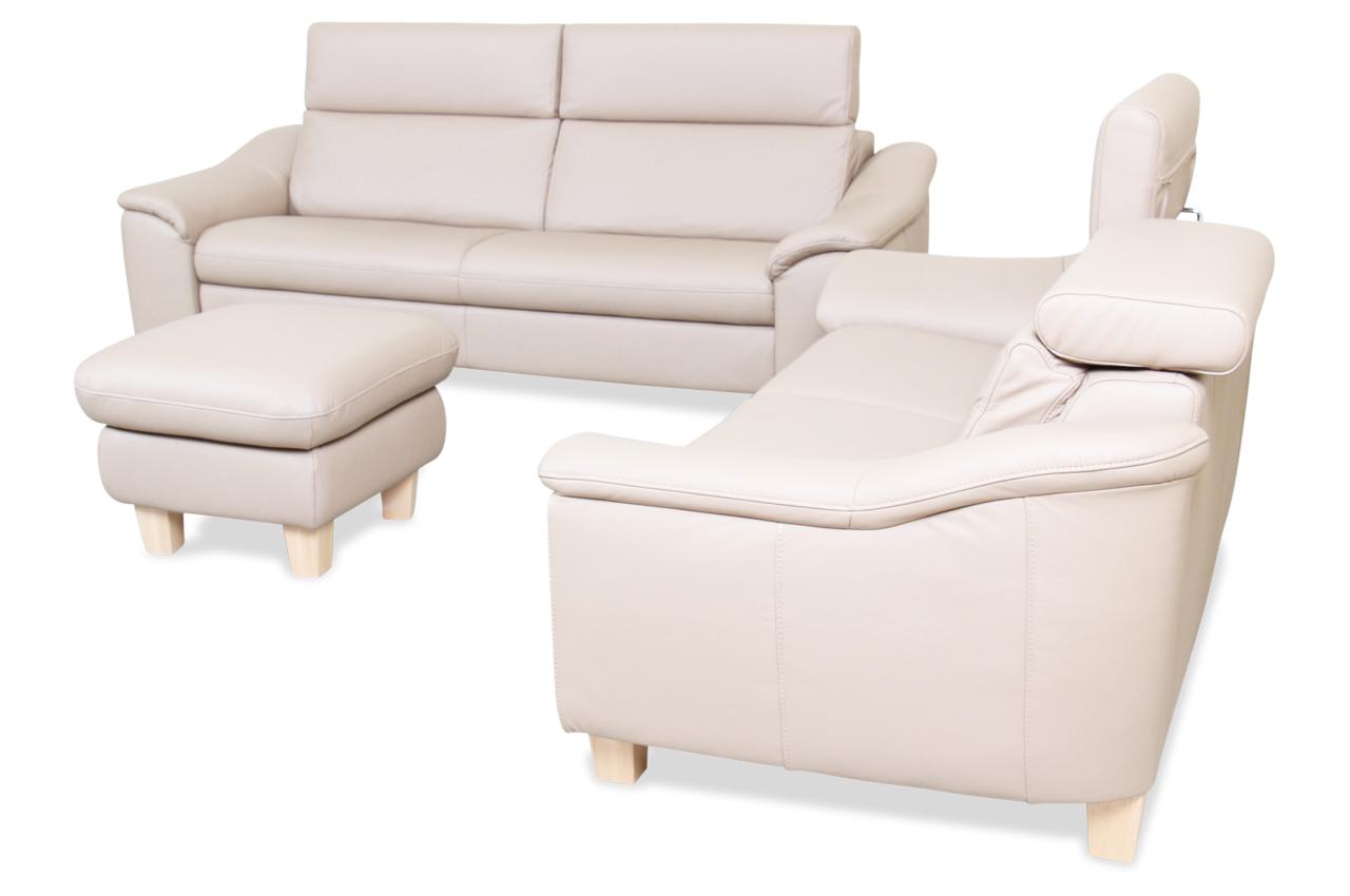 leder garnitur 3 2 mit hocker braun mit federkern sofas zum halben preis. Black Bedroom Furniture Sets. Home Design Ideas