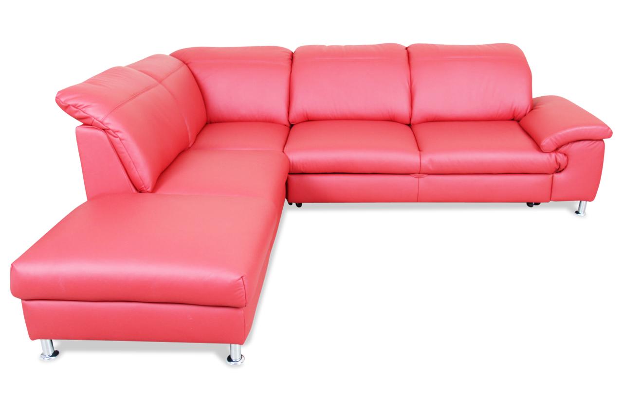 furntrade leder ecksofa xl lucky mit schlaffunktion rot mit federkern sofas zum halben preis. Black Bedroom Furniture Sets. Home Design Ideas