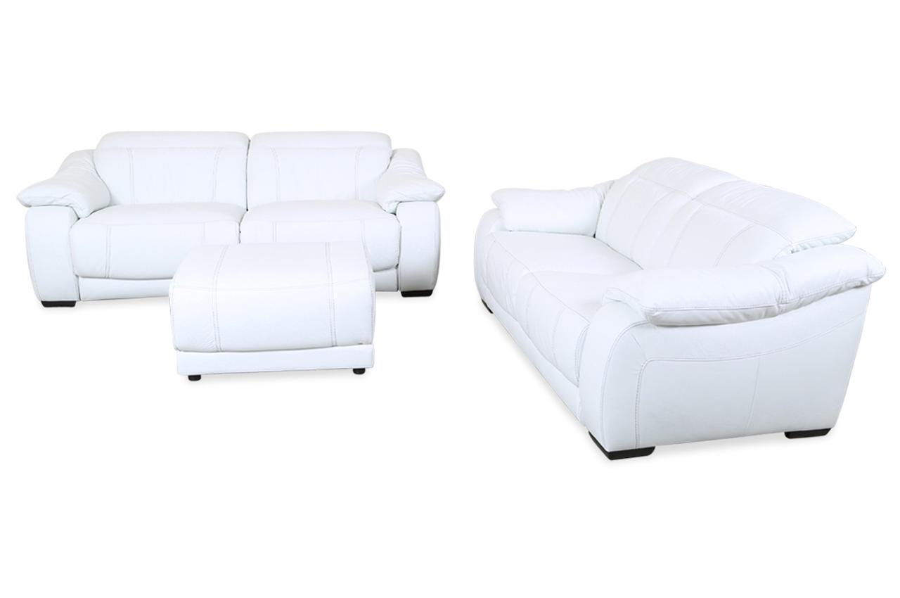 editions leder garnitur 3 2 u076 mit hocker mit relax weiss mit federkern sofas zum halben. Black Bedroom Furniture Sets. Home Design Ideas