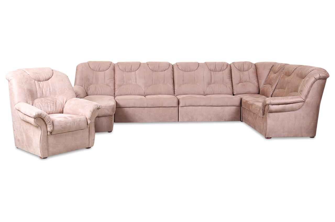 wohnlandschaft linus mit sessel mit sitzverstellung braun sofas zum halben preis. Black Bedroom Furniture Sets. Home Design Ideas
