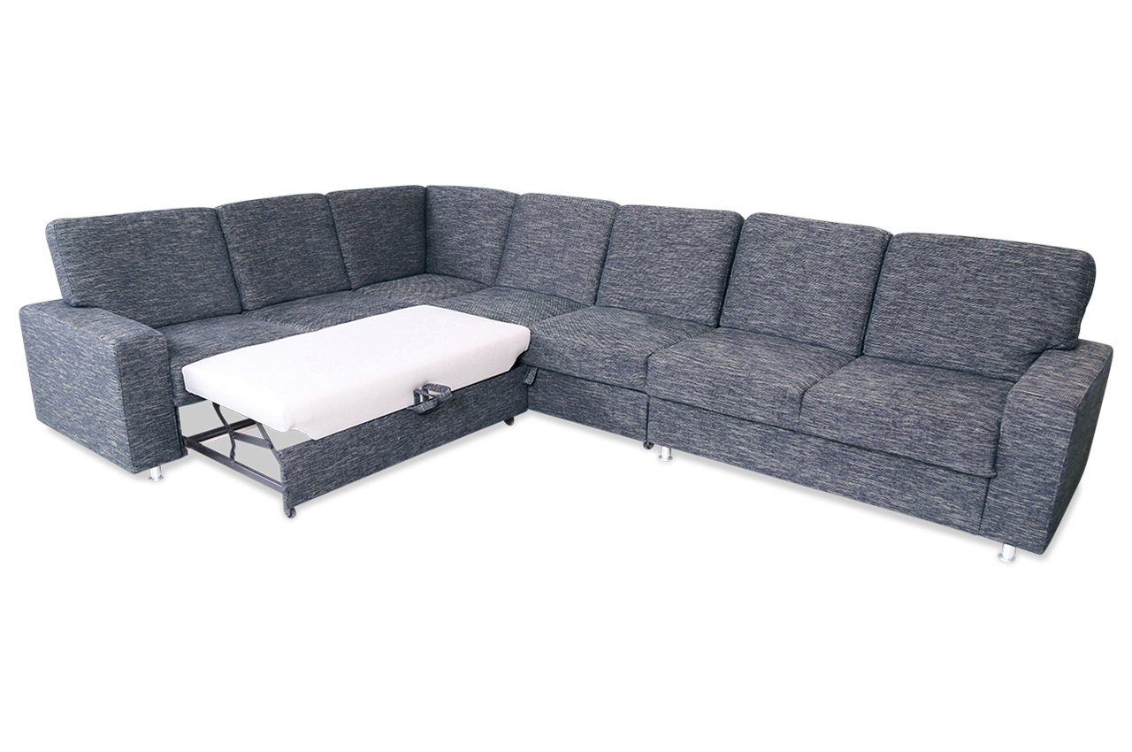 rundecke emma mit schlaffunktion anthrazit sofa couch ecksofa ebay. Black Bedroom Furniture Sets. Home Design Ideas
