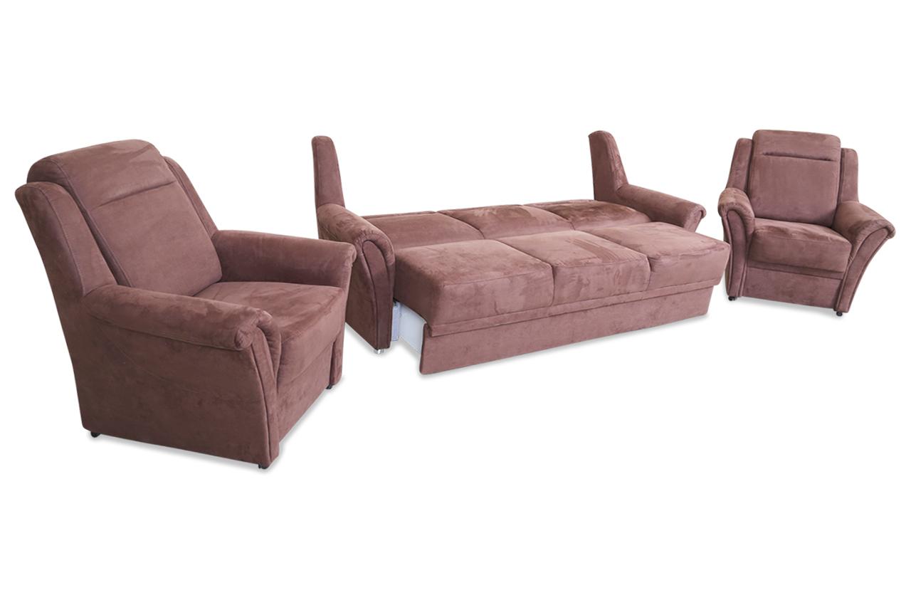 garnitur 3 1 1 mit schlaffunktion braun sofas zum halben preis. Black Bedroom Furniture Sets. Home Design Ideas