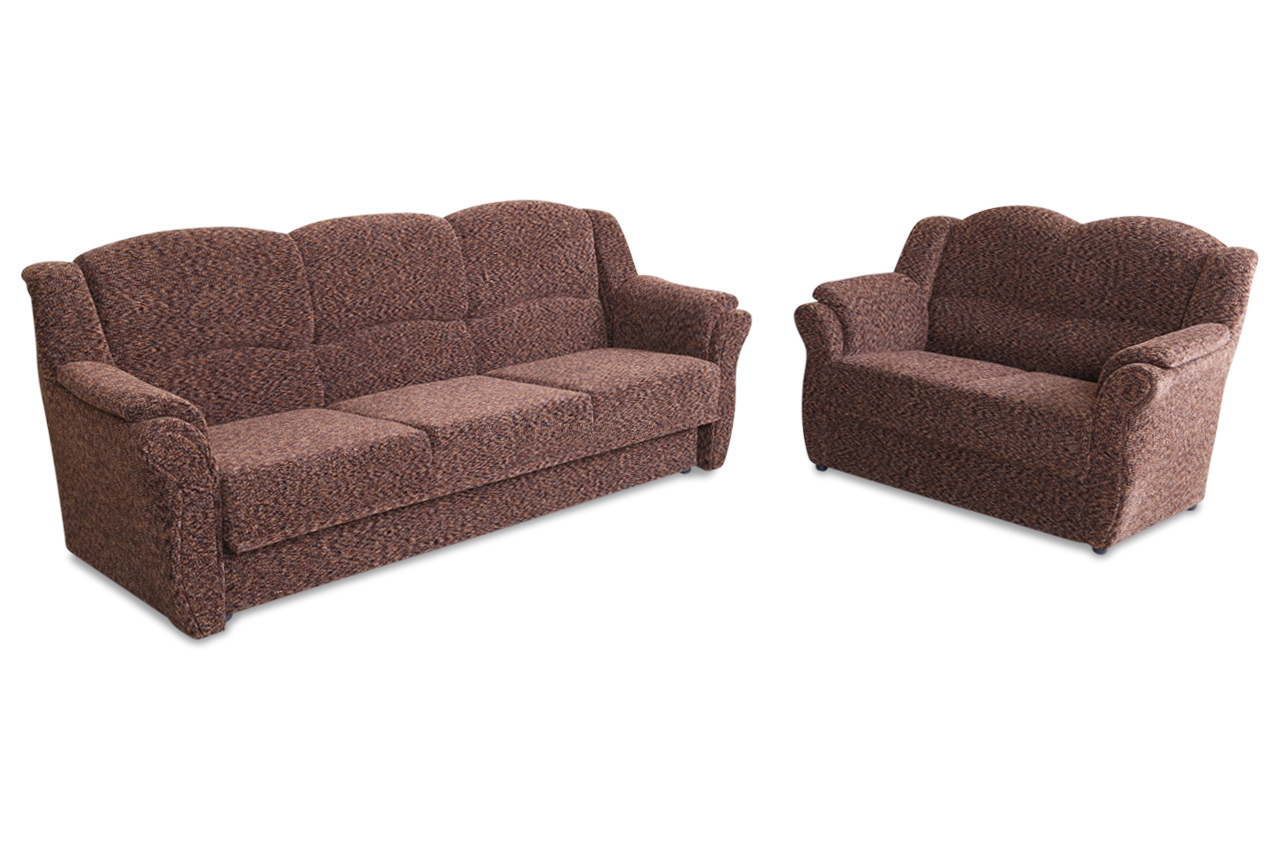 garnitur 3 2 vela mit schlaffunktion braun sofas zum halben preis. Black Bedroom Furniture Sets. Home Design Ideas