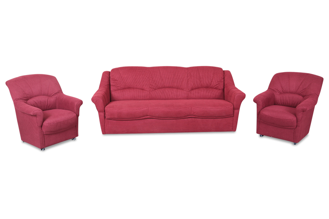 garnitur 3 1 1 mit schlaffunktion rot sofas zum halben preis. Black Bedroom Furniture Sets. Home Design Ideas