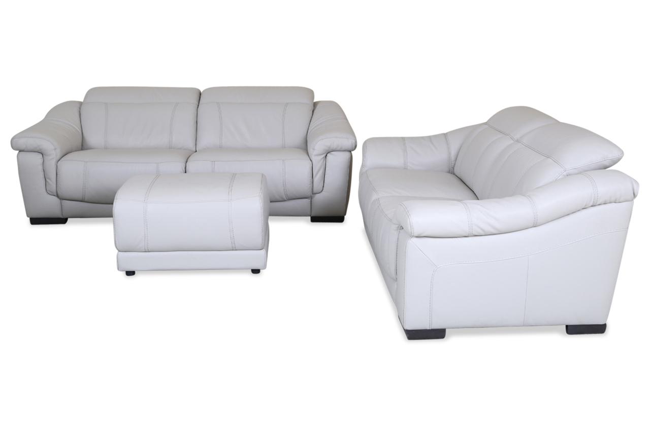 editions leder garnitur 3 2 u075 mit hocker mit relax weiss mit federkern sofas zum halben. Black Bedroom Furniture Sets. Home Design Ideas