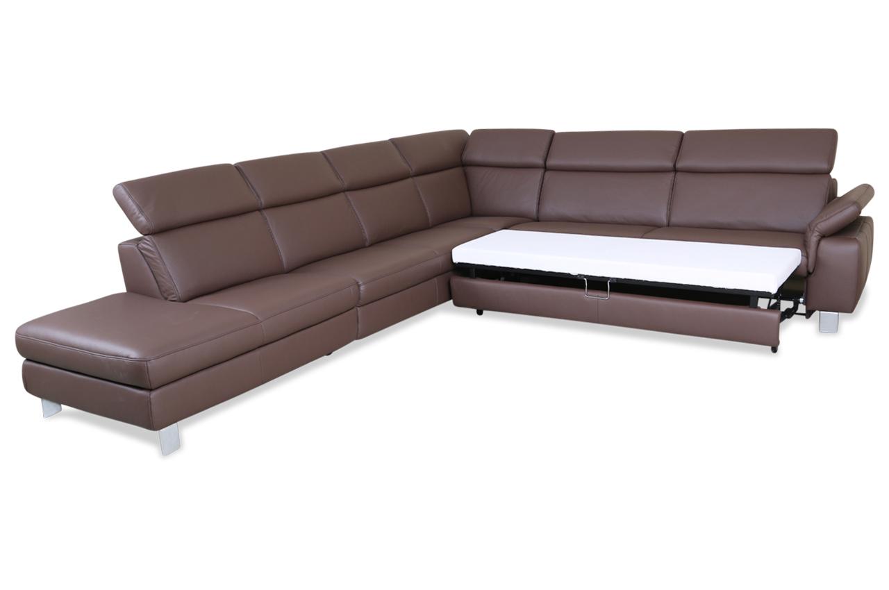 leder rundecke mit schlaffunktion braun sofas zum halben preis. Black Bedroom Furniture Sets. Home Design Ideas